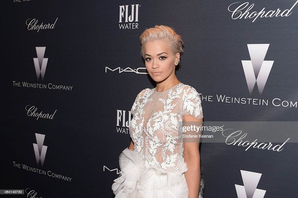 Recording artist Rita Ora attends The Weinstein Company's Academy Awards Nominees Dinner in partnership with Chopard, DeLeon Tequila, FIJI Water and MAC Cosmetics on February 21, 2015 in Los Angeles, California.