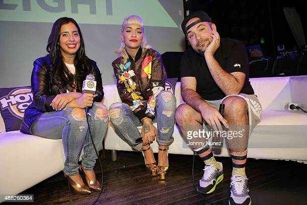 Recording artist Rita Ora is interviewed onstage by radio personalities Laura Stylez and Peter Rosenberg during 'Up Close And Personal With Rita Ora'...