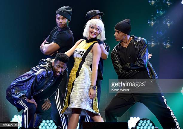 Recording artist Rita Ora performs onstage during KIIS FM's Jingle Ball 2014 powered by LINE at Staples Center on December 5 2014 in Los Angeles...