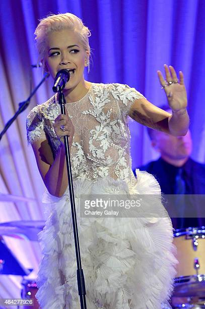 Recording artist Rita Ora performs onstage during The Weinstein Company's Academy Awards Nominees Dinner in partnership with Chopard DeLeon Tequila...