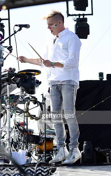 Recording artist Robert DeLong performs onstage during day 1 of the 2016 Coachella Valley Music Arts Festival Weekend 1 at the Empire Polo Club on...