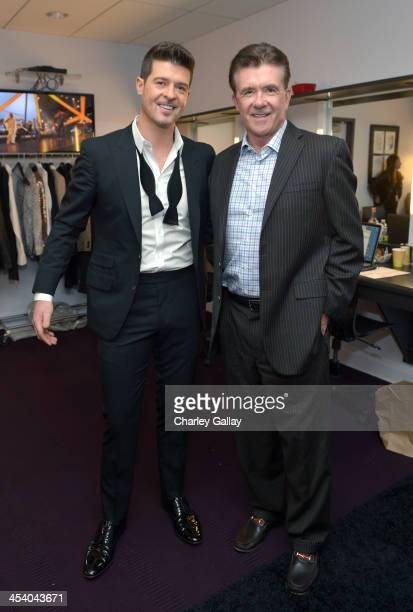 Recording artist Robin Thicke and actor Alan Thicke attend The GRAMMY Nominations Concert Live Countdown to Music's Biggest Night at Nokia Theatre LA...