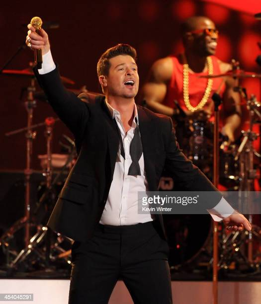 Recording artist Robin Thicke performs onstage during The GRAMMY Nominations Concert Live Countdown to Music's Biggest Night at Nokia Theatre LA Live...