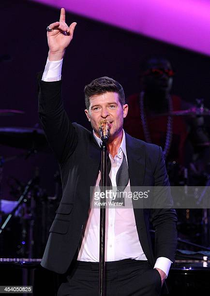 Recording artist Robin Thicke performs onstage during The GRAMMY Nominations Concert Live Post Concert with Robin Thicke at Nokia Theatre LA Live on...
