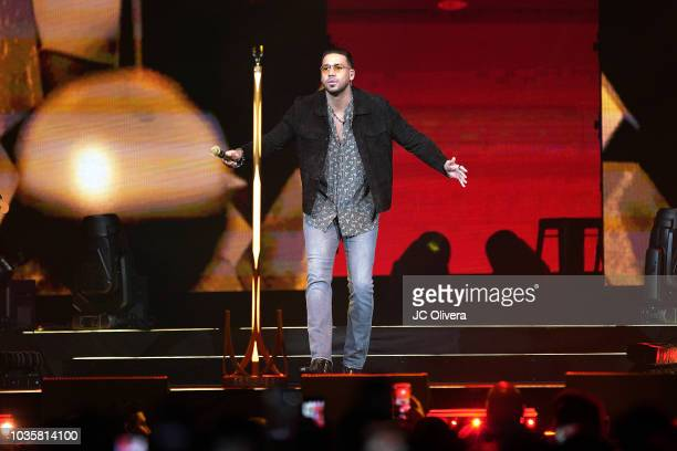 Recording artist Romeo Santos performs onstage during his 'Golden Tour' at Honda Center on September 18 2018 in Anaheim California