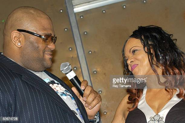 Recording artist Ruben Studdard and Jamie Foster Brown pose for photos at Sister 2 Sister's Sweet 16th Gala at Crobar April 20 2005 in New York City