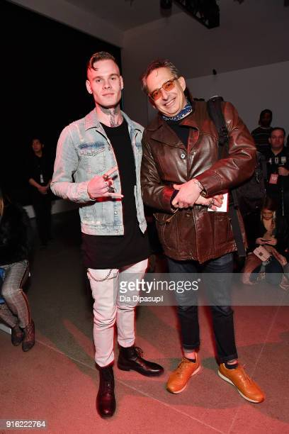 Recording artist Russian Roulette and Wall Street Journal's Jeffrey Podolsky attend the Just In XX presentation during New York Fashion Week: The...