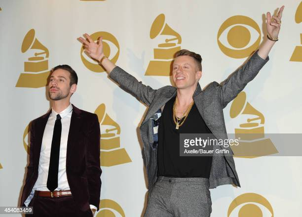 Recording artist Ryan Lewis and recording artist Macklemore pose in the press room at The GRAMMY Nominations Concert Live Countdown To Music's...