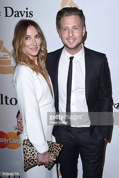 Recording artist Ryan Tedder of music group OneRepublic and Genevieve Tedder attend the 2016 PreGRAMMY Gala and Salute to Industry Icons honoring...