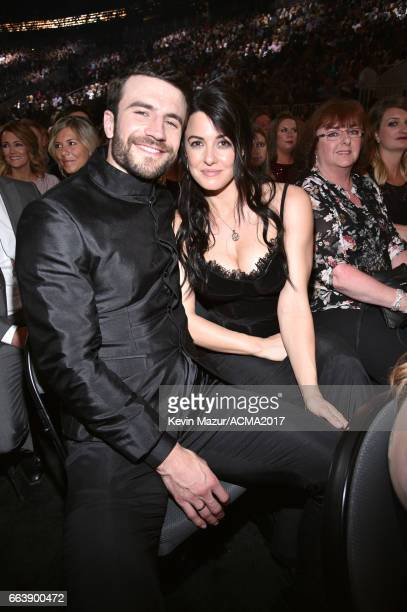 Recording artist Sam Hunt and Hannah Lee Fowler attend the 52nd Academy Of Country Music Awards at TMobile Arena on April 2 2017 in Las Vegas Nevada