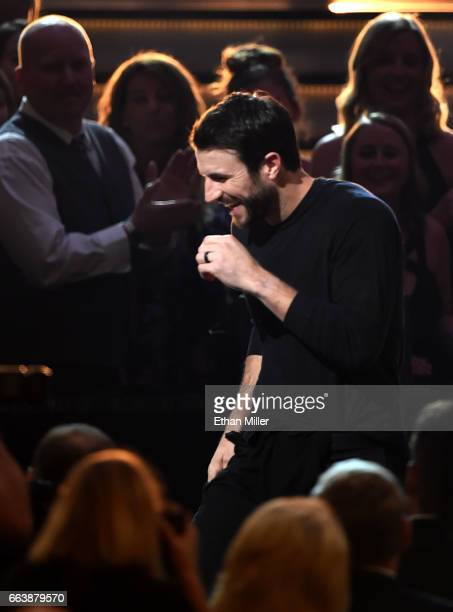 Recording artist Sam Hunt performs during the 52nd Academy of Country Music Awards at TMobile Arena on April 2 2017 in Las Vegas Nevada