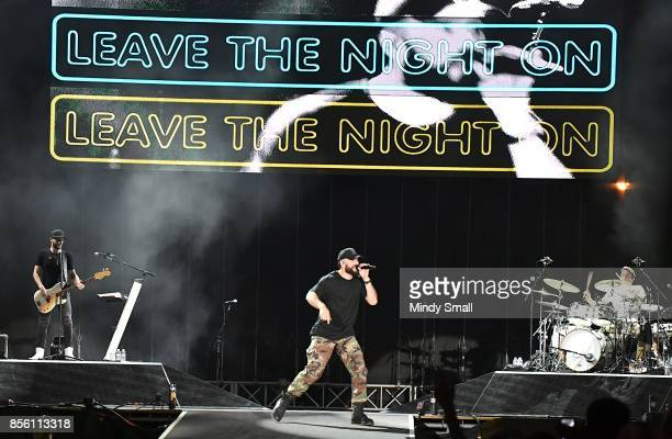 Recording artist Sam Hunt performs during the Route 91 Harvest country music festival at the Las Vegas Village on September 30 2017 in Las Vegas...