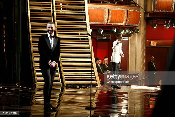 Recording artist Sam Smith and host Chris Rock onstage at the 88th Annual Academy Awards at Hollywood Highland Center on February 28 2016 in...