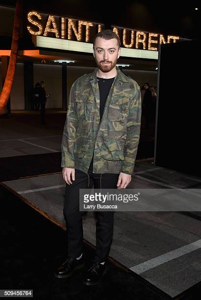 Recording artist Sam Smith attends Saint Laurent at the Palladium on February 10 2016 in Los Angeles California for the Saint Laurent Los Angeles show