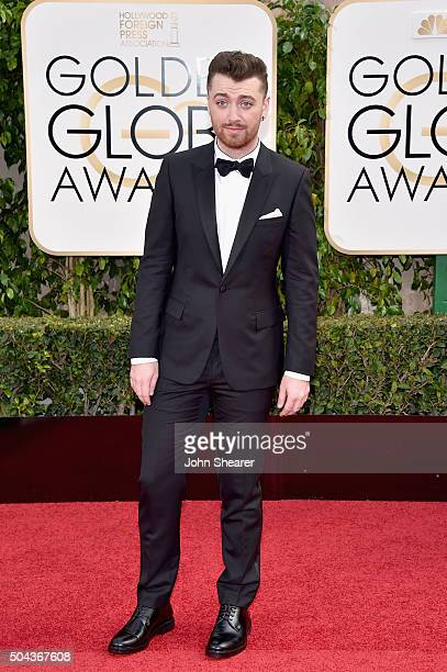 Recording artist Sam Smith attends the 73rd Annual Golden Globe Awards held at the Beverly Hilton Hotel on January 10 2016 in Beverly Hills California