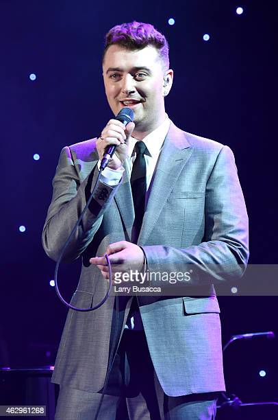 Recording artist Sam Smith onstage at the PreGRAMMY Gala and Salute To Industry Icons honoring Martin Bandier at The Beverly Hilton Hotel on February...