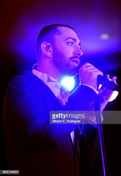 Recording artist Sam Smith performs onstage during The Hollywood Reporter's 4th Annual Nominees Night at Spago on February 8 2016 in Beverly Hills...