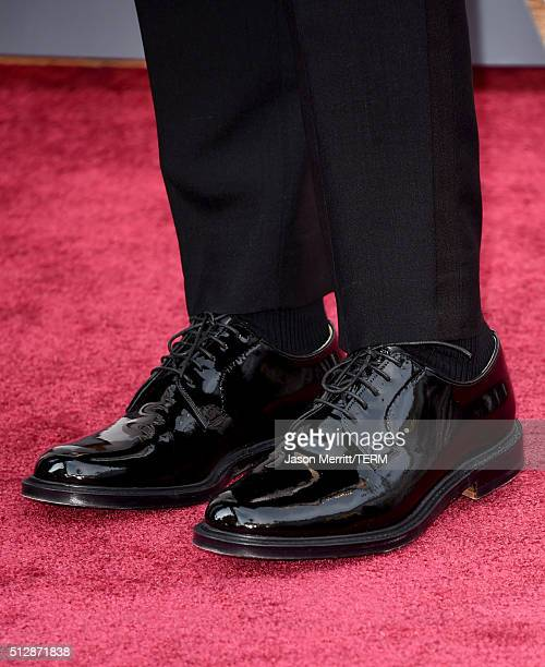 Recording artist Sam Smith shoe detail attends the 88th Annual Academy Awards at Hollywood Highland Center on February 28 2016 in Hollywood California