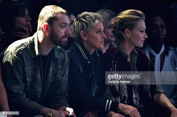 Recording artist Sam Smtih TV personality Ellen DeGeneres in Saint Laurent by Hedi Slimane and actress Portia de Rossi in Saint Laurent by Hedi...