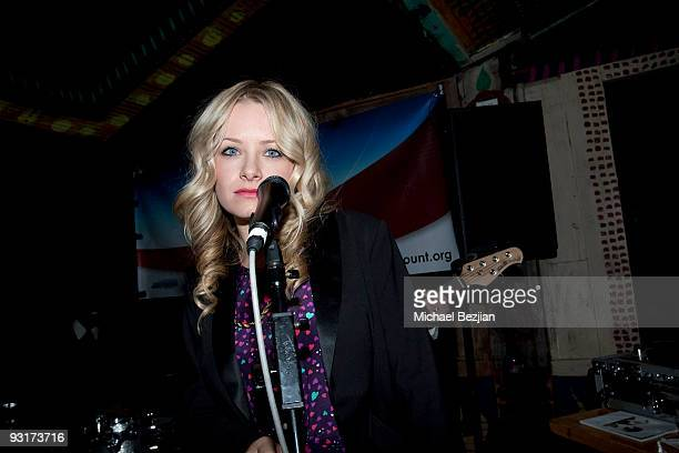 Recording artist Samantha Mollen performs at the west coast launch of HeadCount Organization at the House of Blues on November 17 2009 in West...