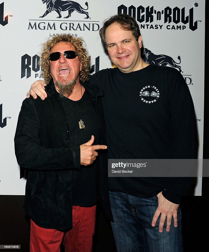 Recording artist Sammy Hagar (L) and radio and television personality Eddie Trunk appear at the Rock 'n' Roll Fantasy Camp at the MGM Grand Hotel/Casino on March 8, 2013 in Las Vegas, Nevada.