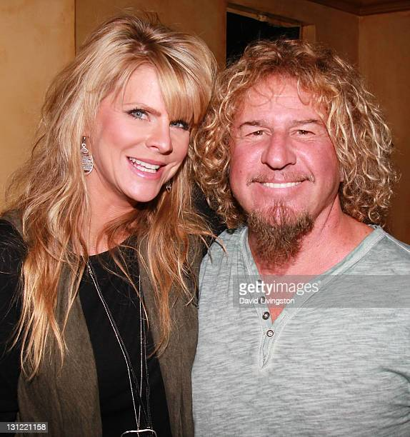 Recording artist Sammy Hagar of Chickenfoot and wife Kari Hagar pose prior to Chickenfoot's performance at Avalon on November 2 2011 in Hollywood...