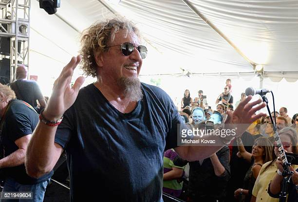Recording artist Sammy Hagar performs onstage during the John Varvatos 13th Annual Stuart House benefit presented by Chrysler with Kids' Tent by...