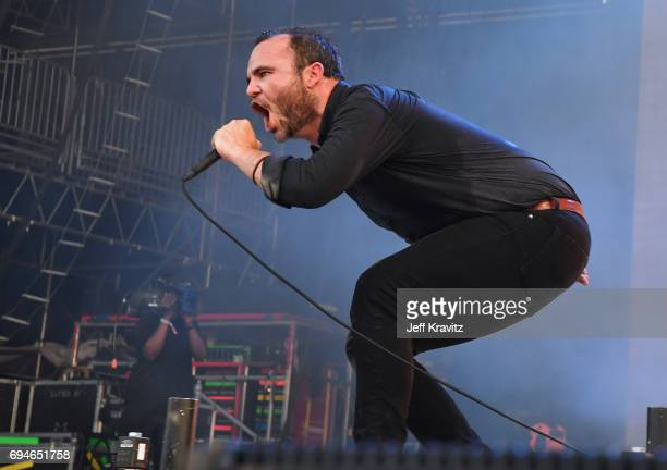 Recording artist Samuel T Herring of Future Islands performs onstage at What Stage during Day 3 of the 2017 Bonnaroo Arts And Music Festival on June...