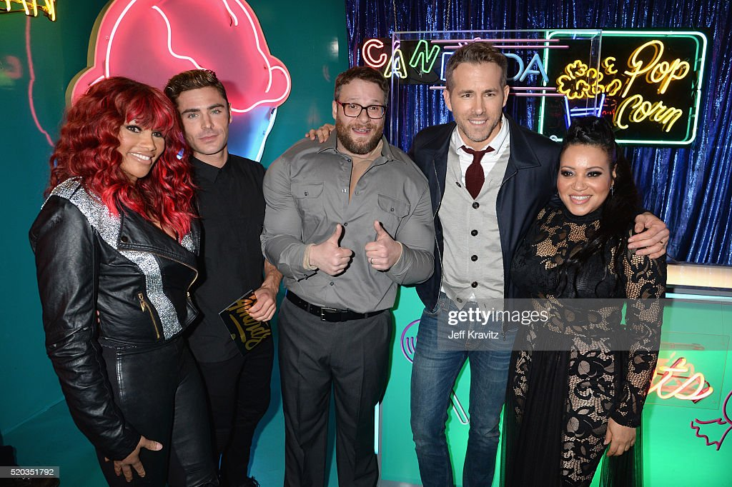 Recording artist Sandra 'Pepa' Denton, actors Zac Efron, Seth Rogen, Ryan Reynolds, and recording artist Cheryl 'Salt' James attend the 2016 MTV Movie Awards at Warner Bros. Studios on April 9, 2016 in Burbank, California. MTV Movie Awards airs April 10, 2016 at 8pm ET/PT.
