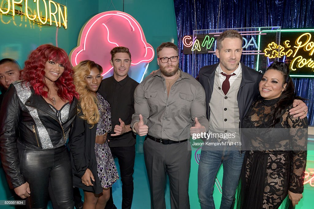 Recording artist Sandra 'Pepa' Denton, TV personality Egypt Criss, actors Zac Efron, Seth Rogen, Ryan Reynolds, and recording artist Cheryl 'Salt' James attend the 2016 MTV Movie Awards at Warner Bros. Studios on April 9, 2016 in Burbank, California. MTV Movie Awards airs April 10, 2016 at 8pm ET/PT.