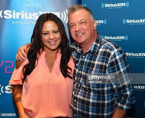 Recording Artist Sara Evans and SiriusXM Host Buzz Brainard arrive at Sara Evans' album premiere special On SiriusXM's Y2Kountry Channel at SiriusXM...