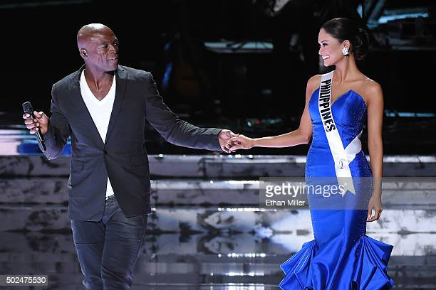 Recording artist Seal performs as Miss Philippines 2015, Pia Alonzo Wurtzbach, walks onstage during the 2015 Miss Universe Pageant at The Axis at...