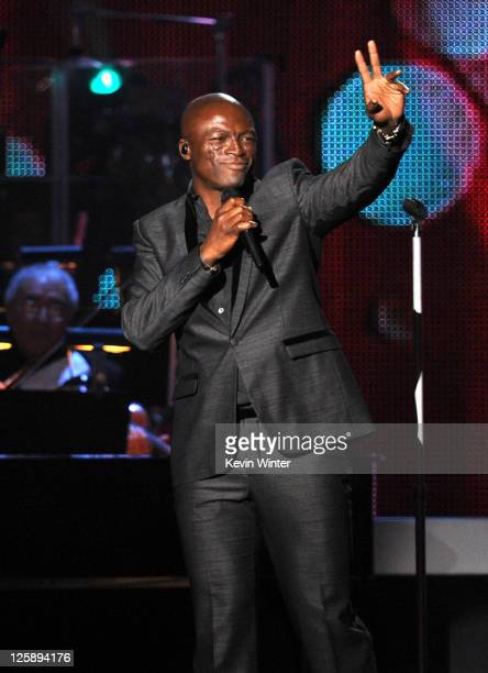 Recording artist Seal performs onstage at 2011 MusiCares Person of the Year Tribute to Barbra Streisand at Los Angeles Convention Center on February...