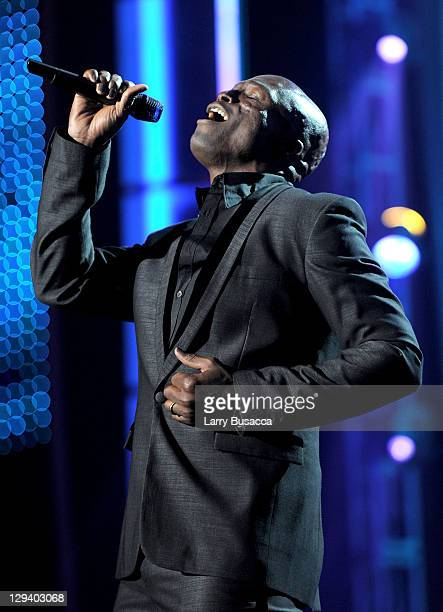 Recording artist Seal speaks onstage at 2011 MusiCares Person of the Year Tribute to Barbra Streisand at Los Angeles Convention Center on February...
