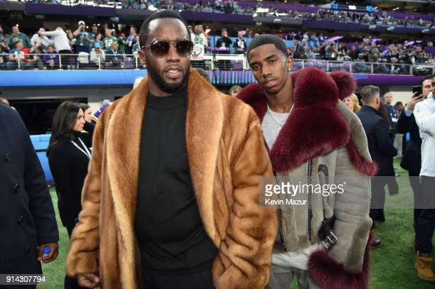 Recording artist Sean Combs and son Christian Combs attend the Super Bowl LII Pregame show at US Bank Stadium on February 4 2018 in Minneapolis...