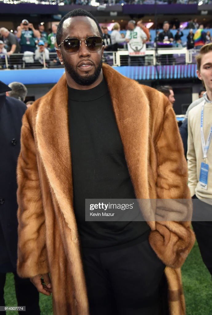 Recording artist Sean Combs attends the Super Bowl LII Pregame show at U.S. Bank Stadium on February 4, 2018 in Minneapolis, Minnesota.
