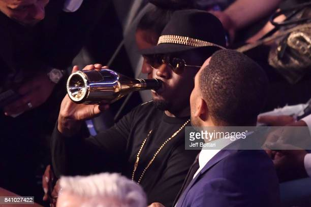 Recording artist Sean 'Diddy' Combs attends the super welterweight boxing match between Floyd Mayweather Jr and Conor McGregor on August 26 2017 at...