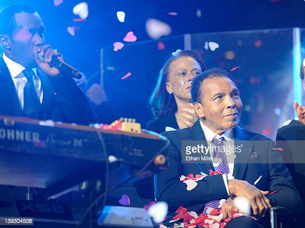 Recording artist Sean Diddy Combs Lonnie Ali and boxing legend Muhammad Ali appear onstage during the Keep Memory Alive foundation's Power of Love...