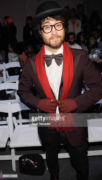 Recording artist Sean Lennon front row at the Michael Angel Fall 2010 fashion show during MercedesBenz Fashion Week at Bryant Park on February 12...