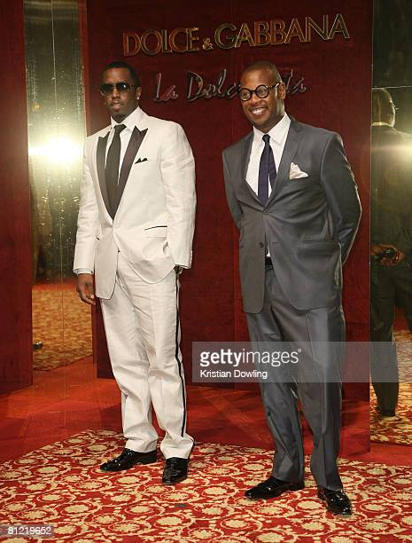 Recording artist Sean 'PDiddy' Combs and Andre Hurrell attend the Dolce Gabbana party at Baoli Port Canto during the 61st International Cannes Film...
