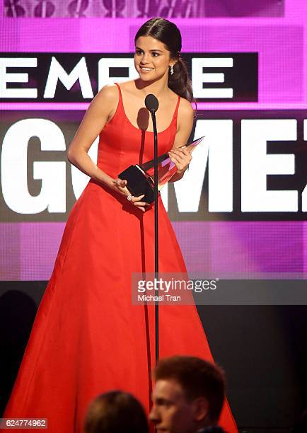Recording artist Selena Gomez accepts the award for Favorite Female Artist Pop/Rock onstage during the 2016 American Music Awards held at Microsoft...