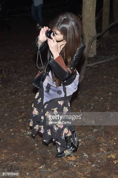 Recording Artist Selena Gomez attends the Coach 1941 front row during New York Fashion Week at Basketball City on February 13 2018 in New York City