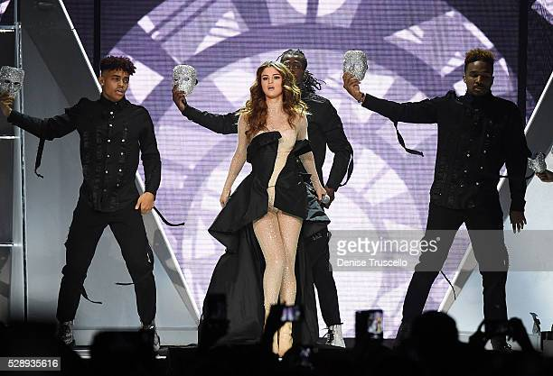 Recording artist Selena Gomez performs during opening night of the Selena Gomez 'Revival World Tour' at the Mandalay Bay Events Center on May 06 2016...