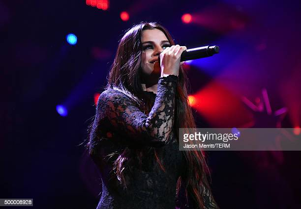 Recording artist Selena Gomez performs onstage during 1027 KIIS FM's Jingle Ball 2015 Presented by Capital One at STAPLES CENTER on December 4 2015...
