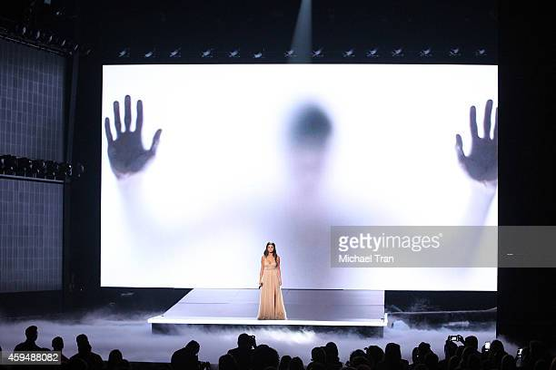 Recording artist Selena Gomez performs onstage during the 2014 American Music Awards held at Nokia Theatre LA Live on November 23 2014 in Los Angeles...