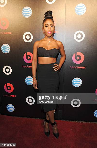Recording artist Sevyn Streeter attends Beats Music Launch Party At Belasco Theatre at Belasco Theatre on January 24 2014 in Los Angeles California