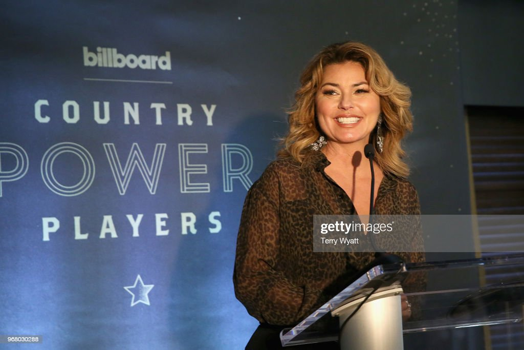 Recording artist Shania Twain speaks on stage as Billboard celebrates the Country Music industry with Country Power Players at WestEnd Kitchen and Bar at the Hutton Hotel on June 5, 2018 in Nashville, Tennessee.