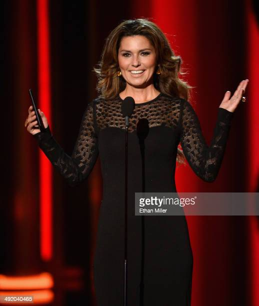 Recording artist Shania Twain speaks onstage during the 2014 Billboard Music Awards at the MGM Grand Garden Arena on May 18 2014 in Las Vegas Nevada