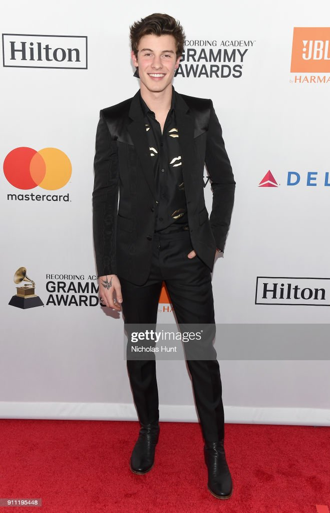 Recording artist Shawn Mendes attends the Clive Davis and Recording Academy Pre-GRAMMY Gala and GRAMMY Salute to Industry Icons Honoring Jay-Z on January 27, 2018 in New York City.