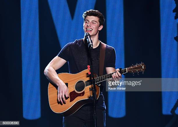 Recording artist Shawn Mendes performs onstage during 1027 KIIS FM's Jingle Ball 2015 Presented by Capital One at STAPLES CENTER on December 4 2015...